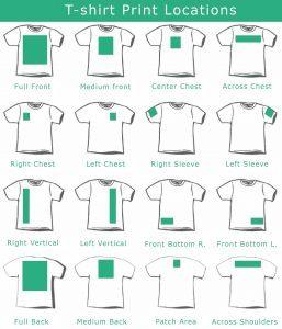t-shirt print locations